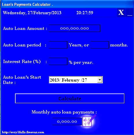 visual basic auto loan monthly payments calculator